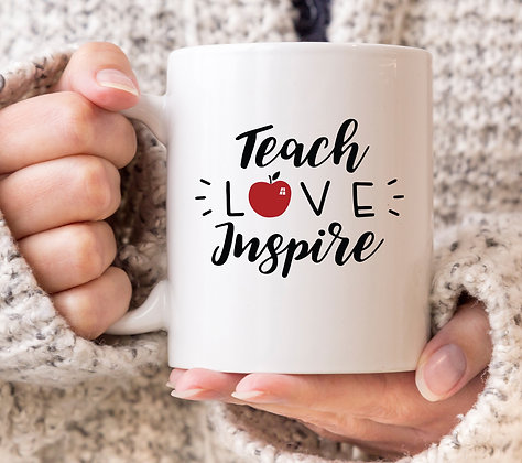 Teach, Love, Inspire Apple Mug