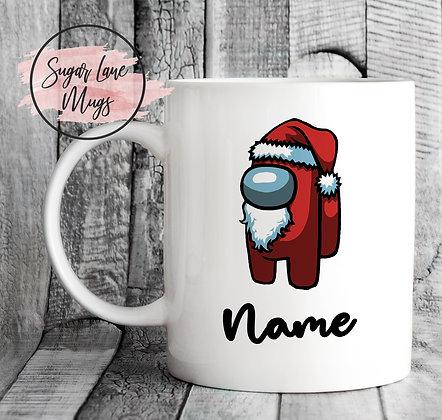 Custom Personalised Among Us Red Santa Christmas Mug