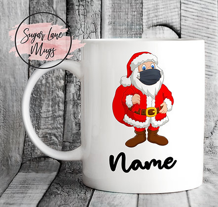 Custom Personalised Santa Black Mask Christmas Mug