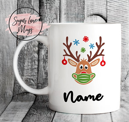 Custom Personalised Reindeer Green Mask Christmas Mug