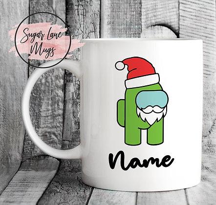 Custom Personalised Among Us Green Santa Christmas Mug