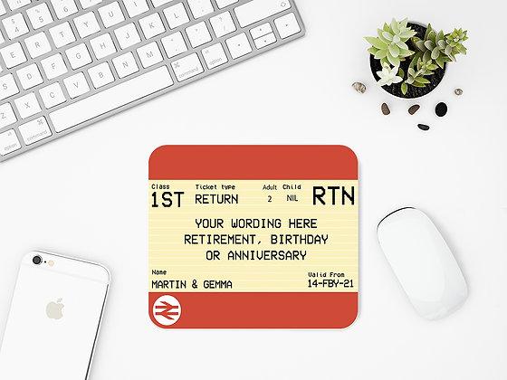 Custom Personalised Rail Ticket Mouse Mat