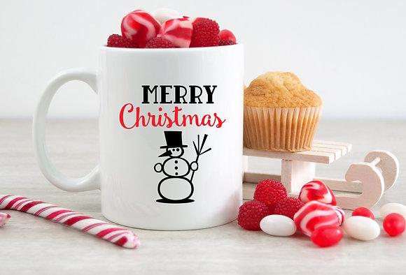 Merry Christmas Snowman Present Mug