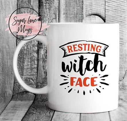 Resting Witch Face Halloween Mug