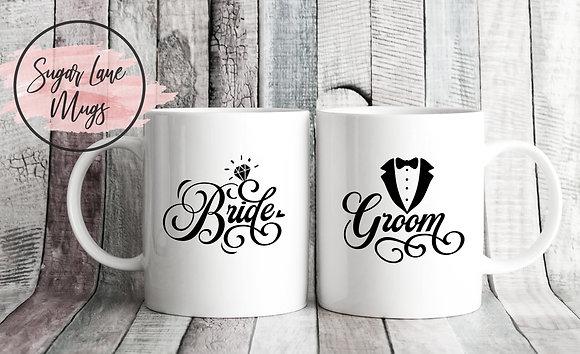 Bride and Groom Wedding Twinpack Mugs (x2)