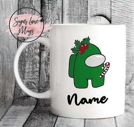 Custom Personalised Among Us Green Candy Christmas Mug