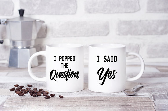 I Popped The Question, She Said Yes, Wedding Twinpack Mugs (x2)