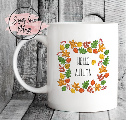 Hello Autumn Leaves Mug