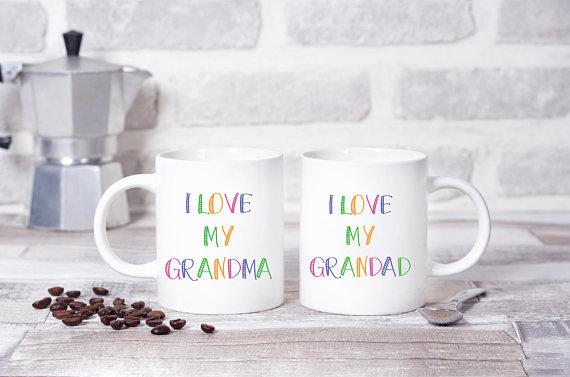 I Love My Grandma, Grandad Twinpack Mugs (x2)