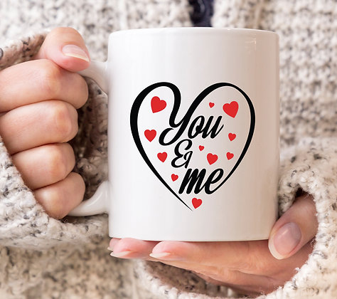 You and Me Love Heart Valentines Mug