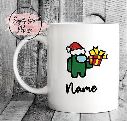 Custom Personalised Among Us Green Present Mug