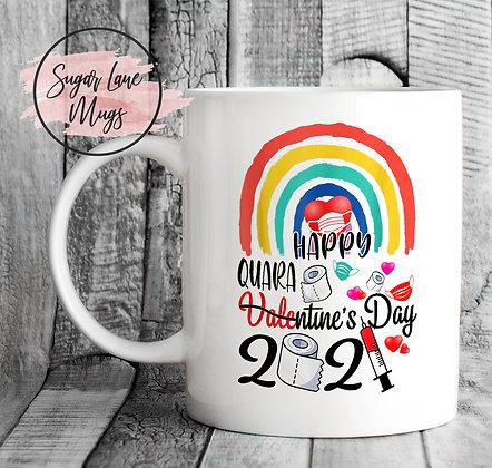 Happy Quarantine's Day Valentine Rainbow Mug