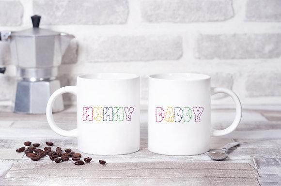 Mummy and Daddy Patchwork Twinpack Mugs (x2)