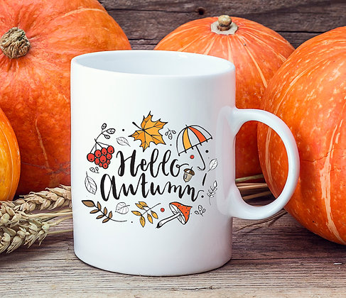 Hello Autumn Umbrella Leaves Mug