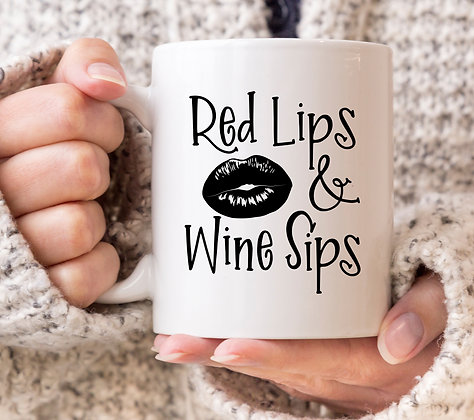 Red Lips and Wine Sips Mug