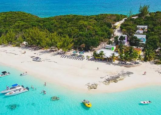 Footprints beach bar on Rose island, Bahamas