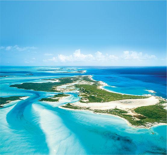 Aerial shot of the Bahamas islands.