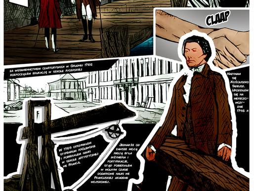 Trzy plansze niepublikowanego komiksu o Kościuszce