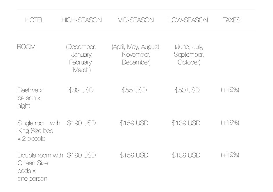 Retreat room price list