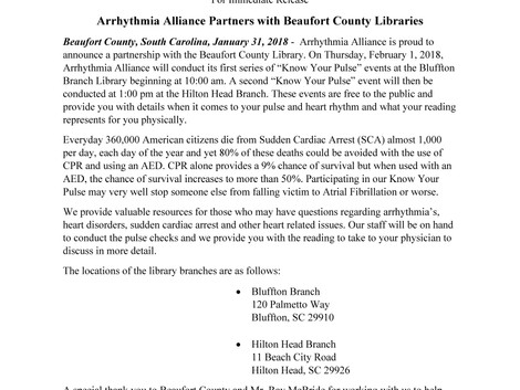 Arrhythmia Alliance Partners with Beaufort County Libraries