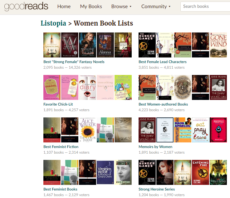 GoodReads: Women Book Lists