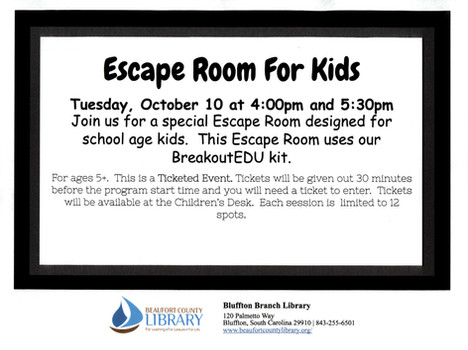 Escape Room, Trick or Treat, More for Youth at the Bluffton Branch Library