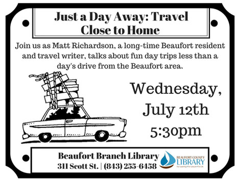 "RESCHEDULED: ""Just a Day Away: Travel Close to Home"""