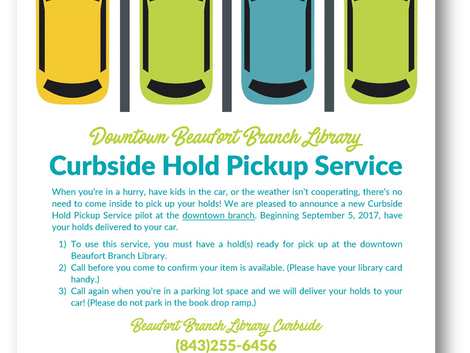 Library to Pilot Curbside Hold Pickup Service at Beaufort Branch