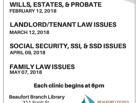 SC Bar Offering Free Legal Clinics at the Beaufort Branch Library