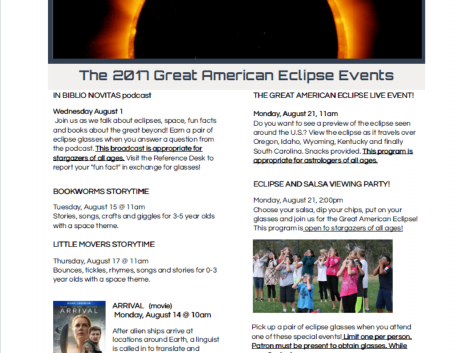 Solar Eclipse Events, Recycling Program at Bluffton Branch Library