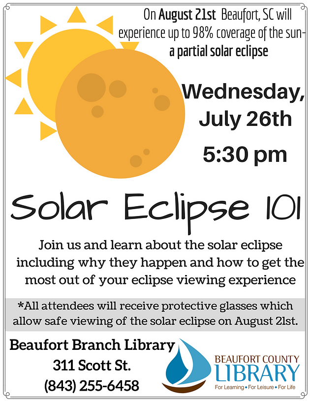 "beaufort branch library to offer two solar eclipse events  dramatic essay reading annie dillard s ""total eclipse"""