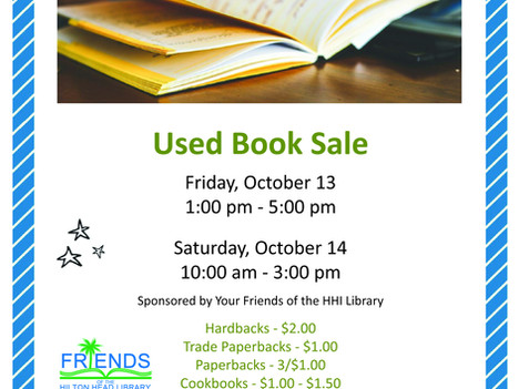 Friends of the Hilton Head Library to Host Fall Used Book Sale