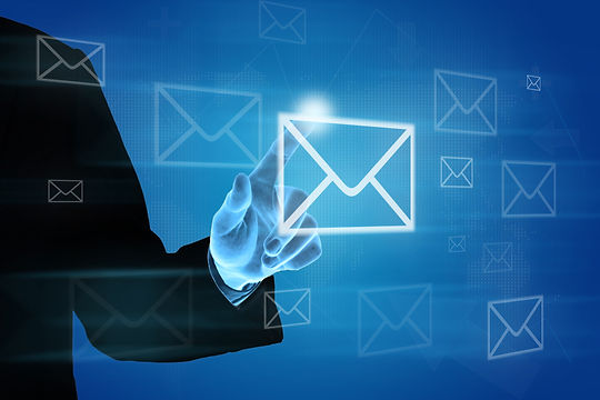 hand pushing e-mail icon on screen, busi