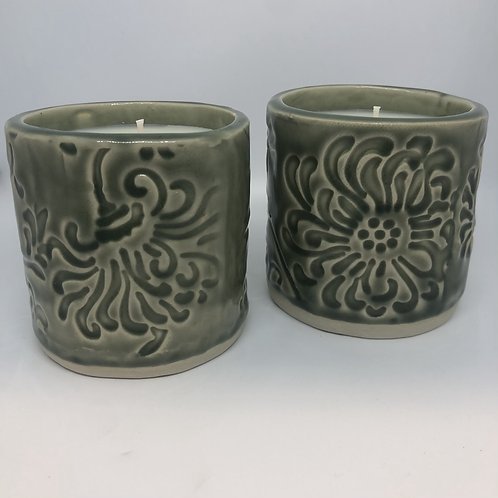 Pottery candle set