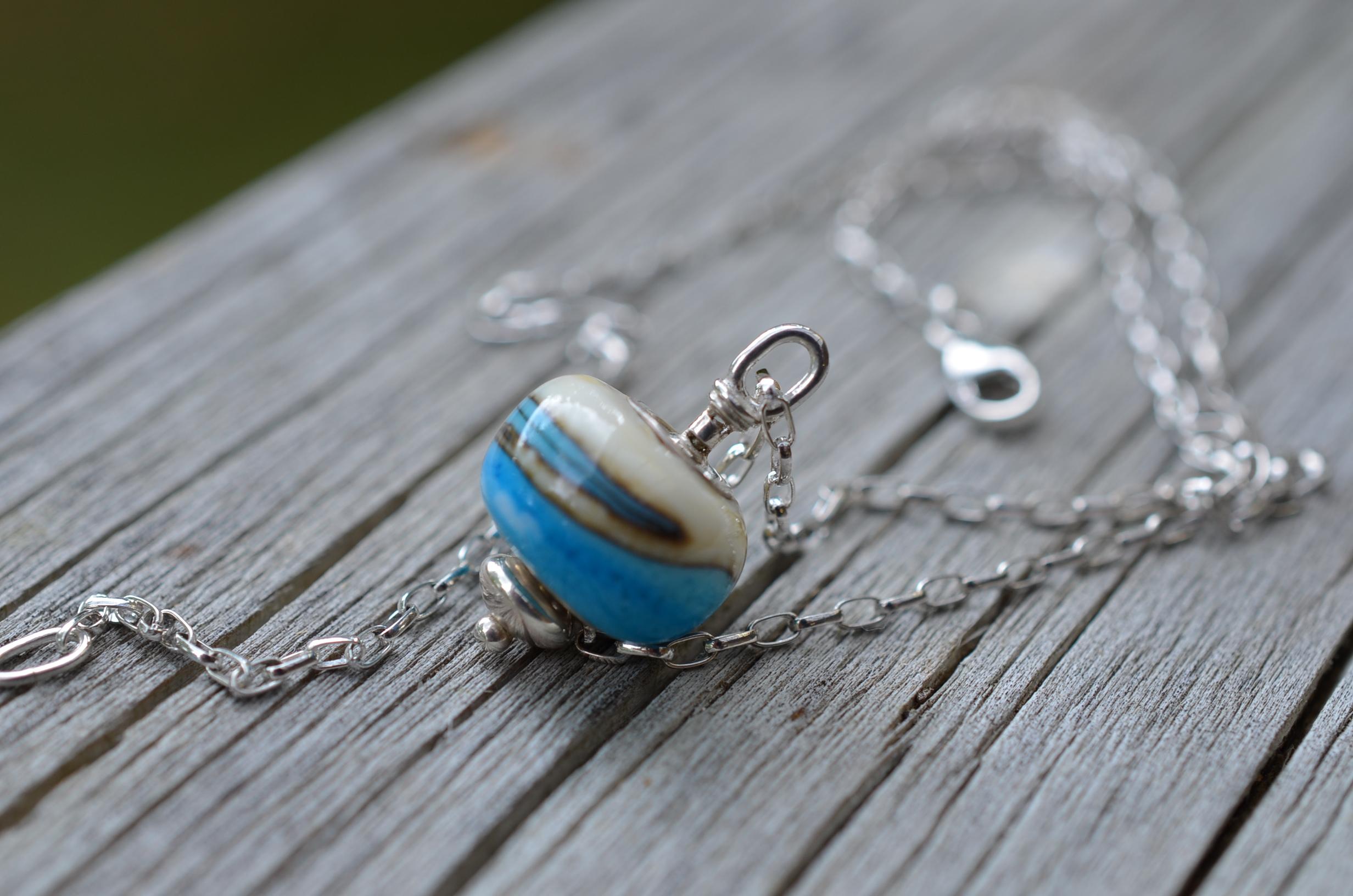 Lampwork bead holder necklace