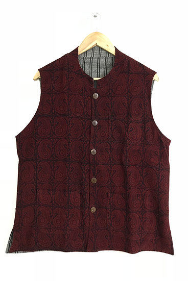 Red Print Reversible Nehru Jacket