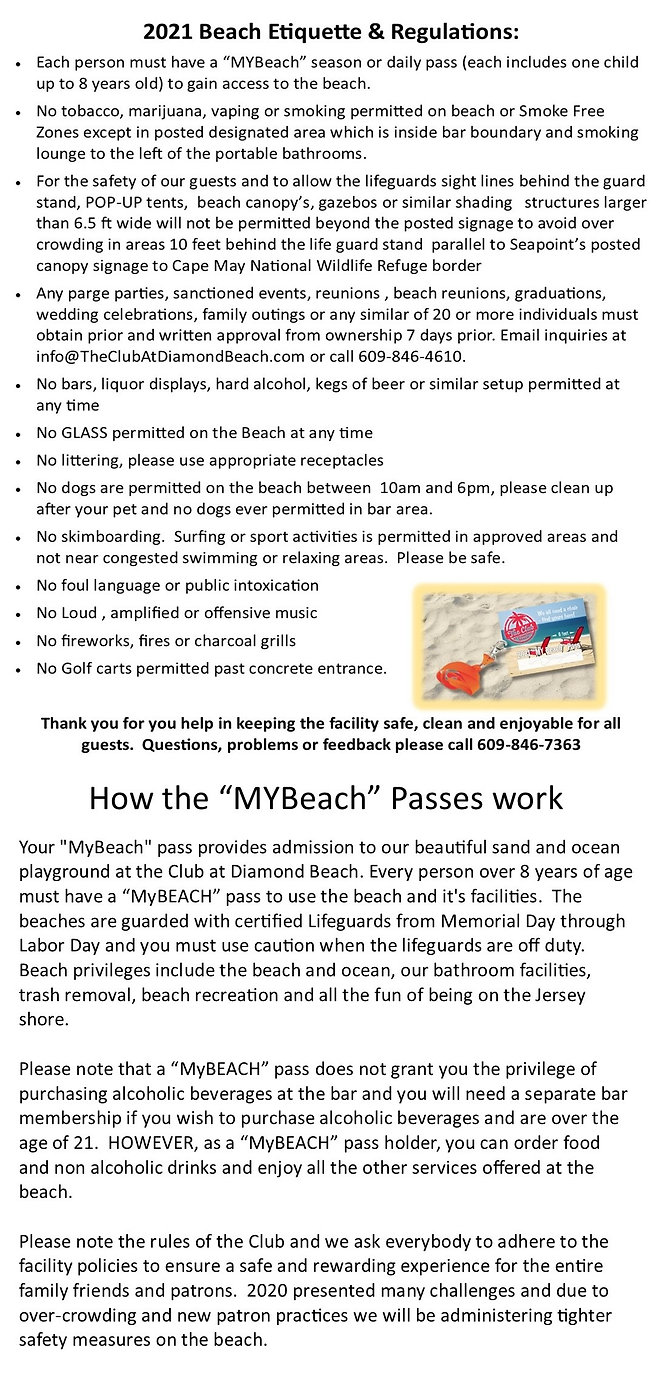 2021 My Beach Passes Information and How They Work. Beach Etiquette & Regulations