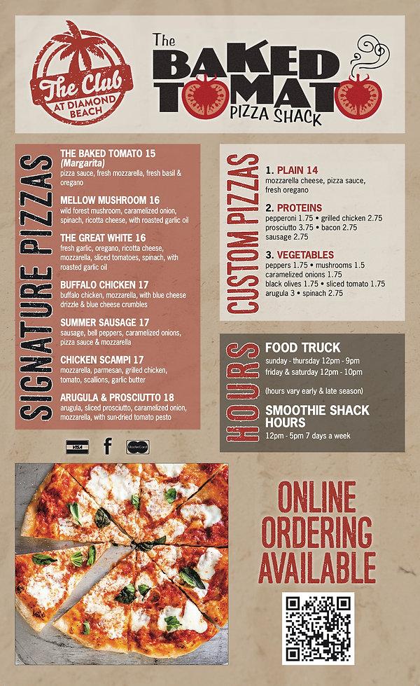 Baked Tomato Pizza Shack at The Club at Diamond Beach Menu including Signature & Custom Pizzas