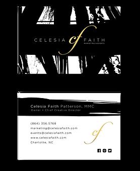 Graphic design charlotte kummerow designs llc business cards celesia faith marketing events business card design reheart Choice Image