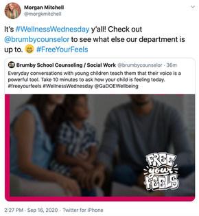 Los consejeros de la escuela Brumby y el trabajo social comparten el #wellnesswed Wednesday