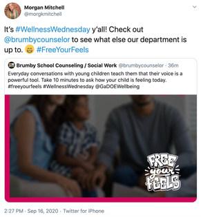 Brumby School Counselors & Social Work share on #wellnesswednesday