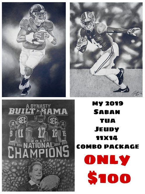 Saban, TUA and Jeudy 11x14 limited edition combo