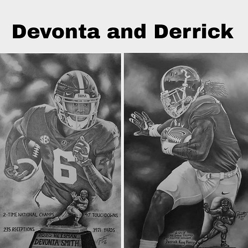 Devonta and Derrick 18x24 limited edition combo