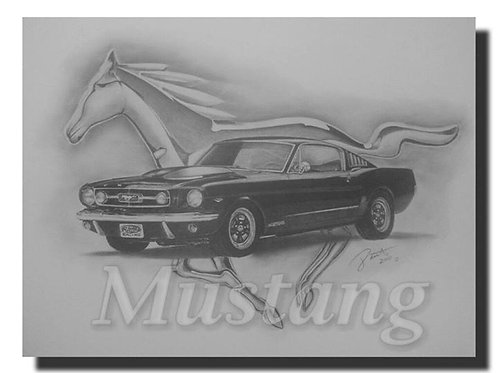 Classic Ford Mustang 18x24 limited edition print