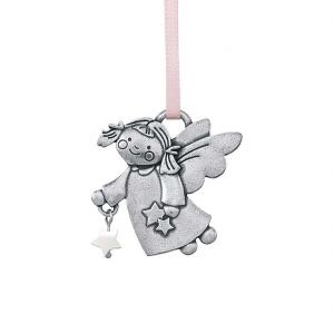 Angel with Star, Pink Ornament from Danforth Pewter