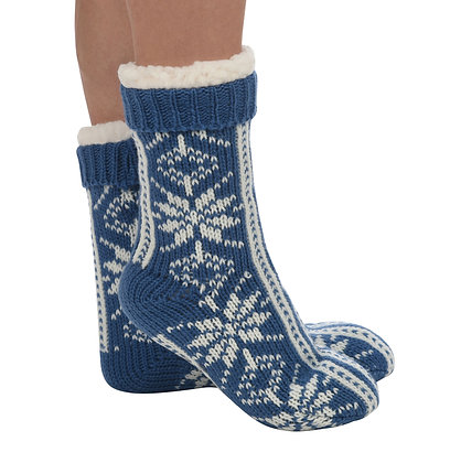 Blue Snowflake Sherpa Lined Snoozies Slipper Socks