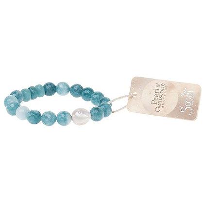 Pearl & Gemstone Bracelet Sea Blue Agate