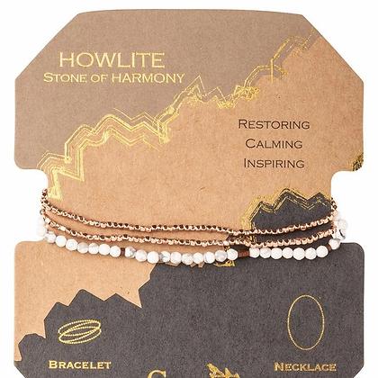 Delicate Stone Wrap Howlite/Rose Gold