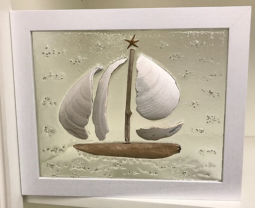 Large Shell Sailboat on Clear Background