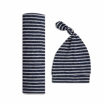 Snuggle Knit Newborn Swaddle & Hat Set Navy Stripe